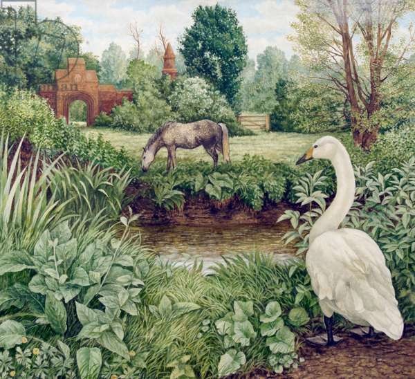Swan and Grazing Horse, 1985 (oil on canvas)