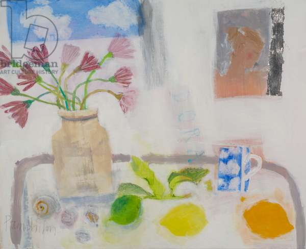 Dora and the Cloud Cup, 2001 (mixed media, paint & silver leaf on canvas)