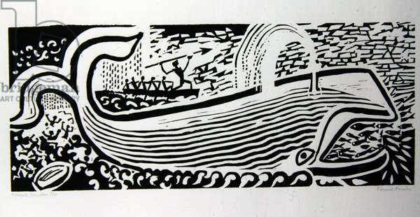 Whale (woodcut on paper)