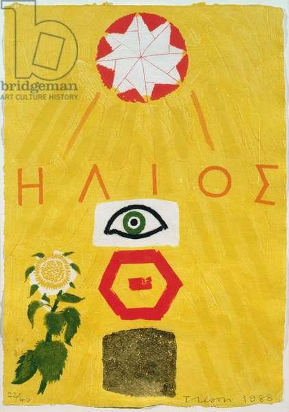 Sun Signature, 1988 (print & gold leaf)
