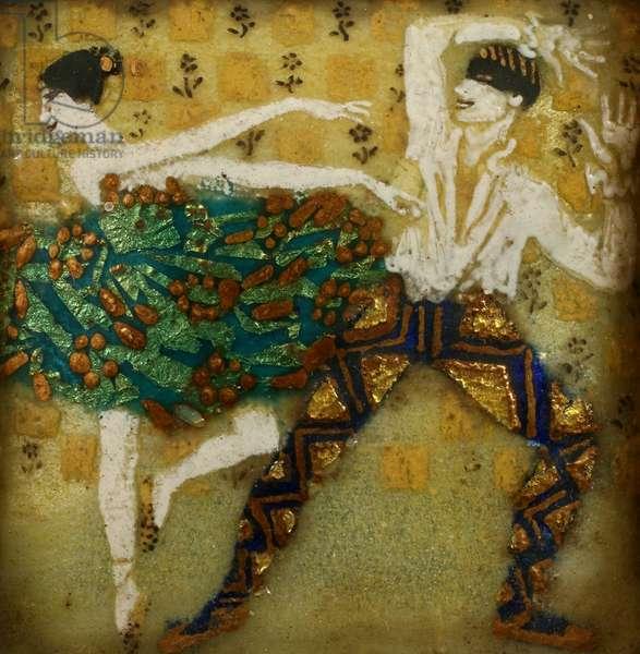 Two Dancers, c.1912 (oil on enamel)