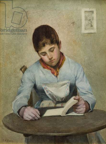 Girl Sitting Reading (w/c on paper)
