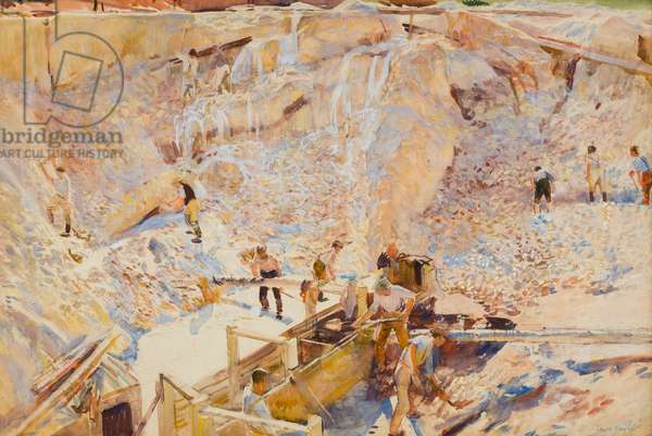 Men Working in a China Clay Pit, c.1912 (w/c & gouache on paper)
