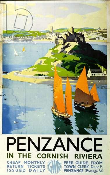 Penzance in the Cornish Riviera, c.1935 (litho)