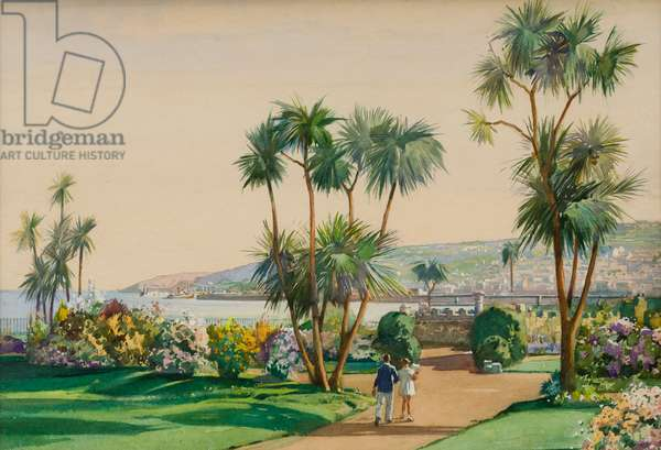 Penlee Gardens, Penzance, design for a postcard (w/c on paper)