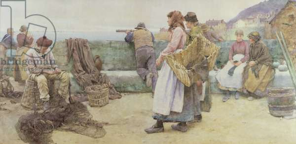 In a Cornish Fishing Village: Departure of the Fleet for the North, 1886 (w/c on paper)