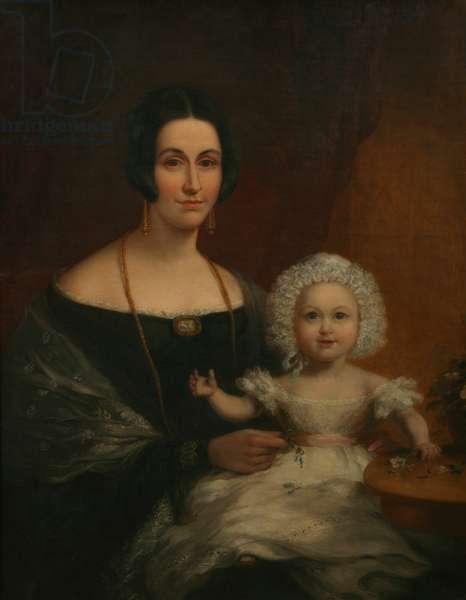 Mrs John Batten and Child (oil on canvas)