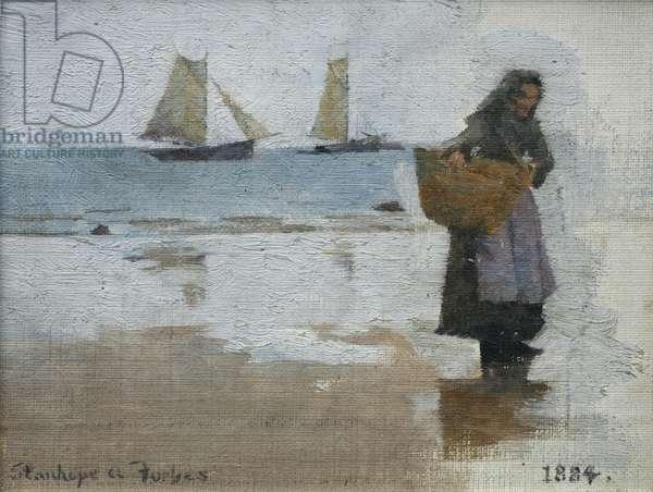 Fisherwoman on a Beach, 1884 (oil on canvas)