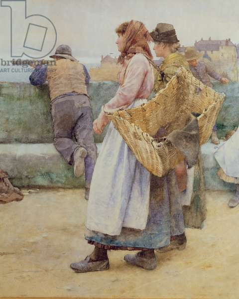 In a Cornish Fishing Village: Departure of the Fleet for the North, detail of two fishwives, 1886 (w/c) (detail of 77635)