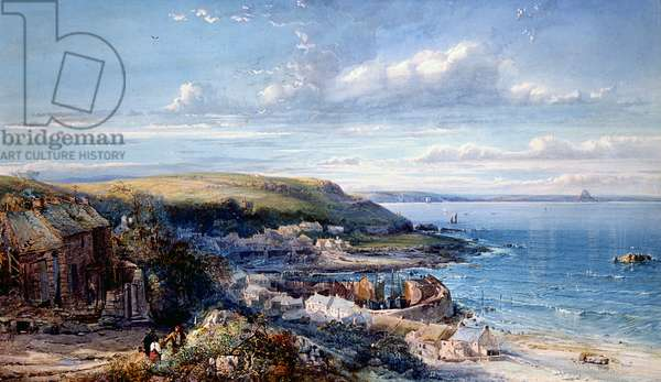 A Mount's Bay Fishing Village (Mousehole) 1860 (w/c & bodycolour on paper)