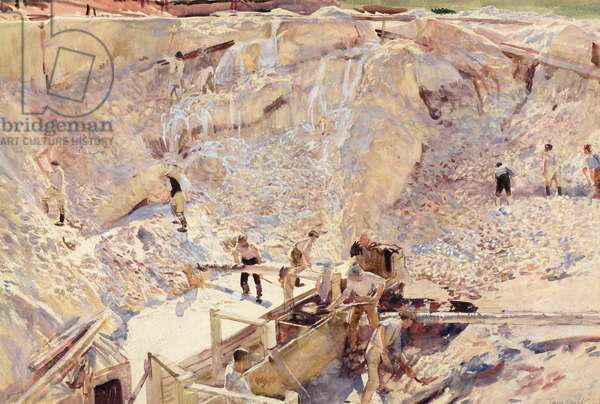 Men Working in a China Clay Pit (w/c on paper)