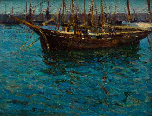 Fishing Boats in St Ives (oil on canvas)