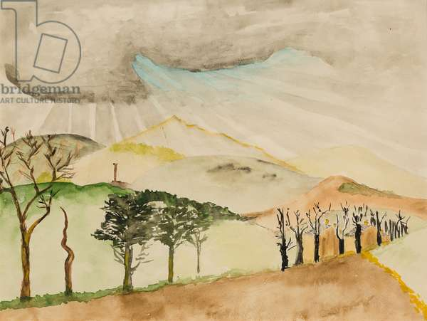 Trencrom and Rainclouds, 1947 (w/c on paper)