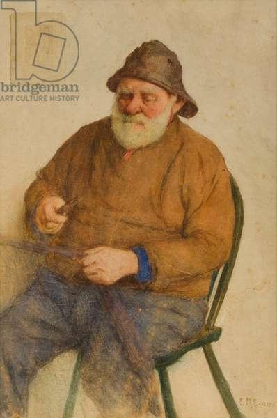 Fisherman Mending Nets (w/c on paper)