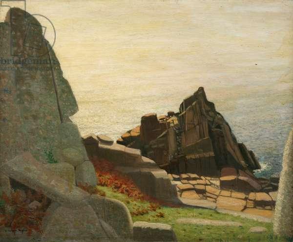 Below Carn Barges (rocks below Lamorna) (oil on canvas)