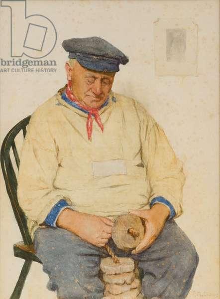 Fisherman Threading Corks (w/c on paper)