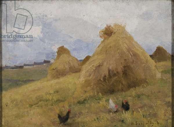 Chickens among Cornstooks, c.1888 (oil on canvas)