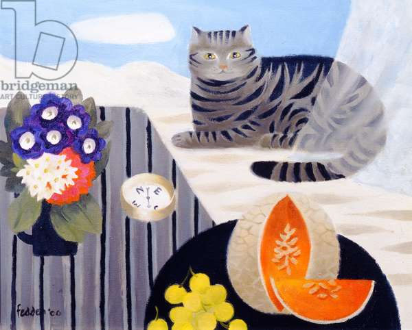 Cat and Compass, 2000 (oil on canvas)