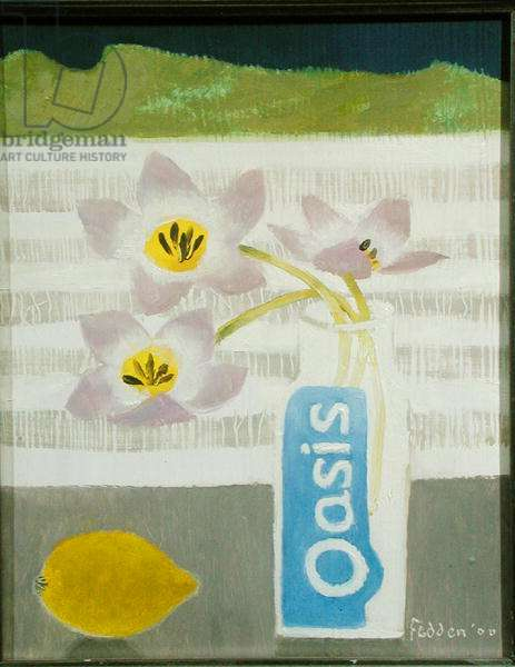 Three Pink Flowers, 2000 (oil on board)