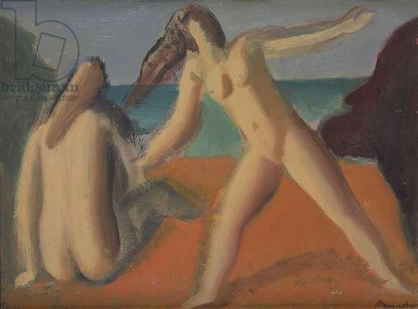 On the Beach - Spanish Bathers (oil on canvas)