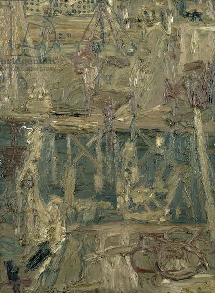 Oxford Street Building Site, 1960 (oil on board)
