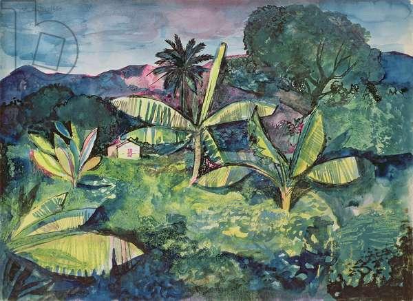 Landscape near Kingston, Jamaica, 1950 (ink & w/c on paper)