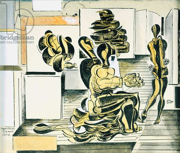 Figures in an Interior, 1934 (ink & w/c on paper)