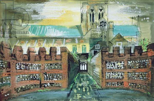 View of Chichester Cathedral from the Deanery, 1975 (ink, w/c & crayon on paper)