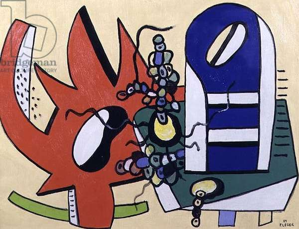 The Red Gear (Still Life in Red and Blue) 1939 (oil on canvas)
