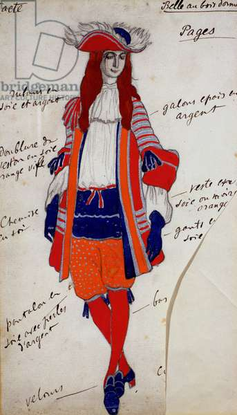 Costume Design for The Page in 'The Sleeping Princess', c.1921