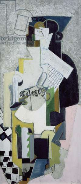 Seated Man holding a Newspaper, 1920 (oil & sand on canvas)