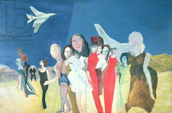 Waiting Women and Two Nuclear Bombers (Handley Page Victors) 1962-63 (oil on board)