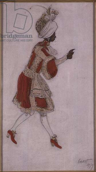 Design for a Page Boy in 'The Sleeping Princess', 1919 (pencil and w/c on paper)