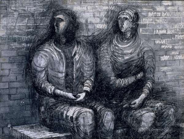 Two Apprehensive Shelterers, 1942 (pencil, charcoal, wax crayon and w/c on paper)