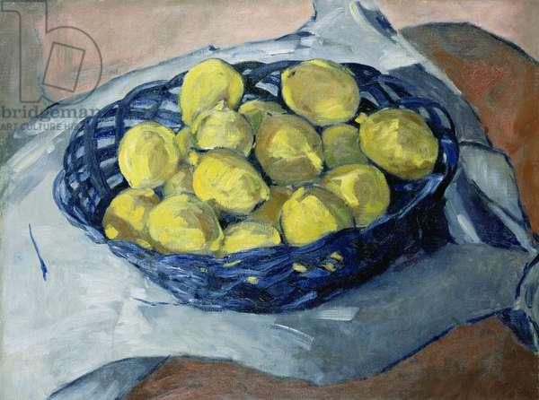 Lemons in a Blue Basket, 1922 (oil on canvas)