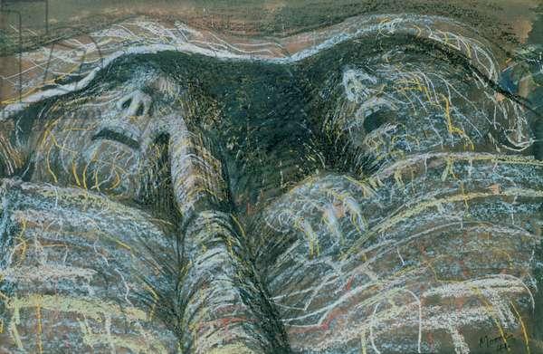 Two Sleepers, 1941 (chalk, w/c & wax crayon)