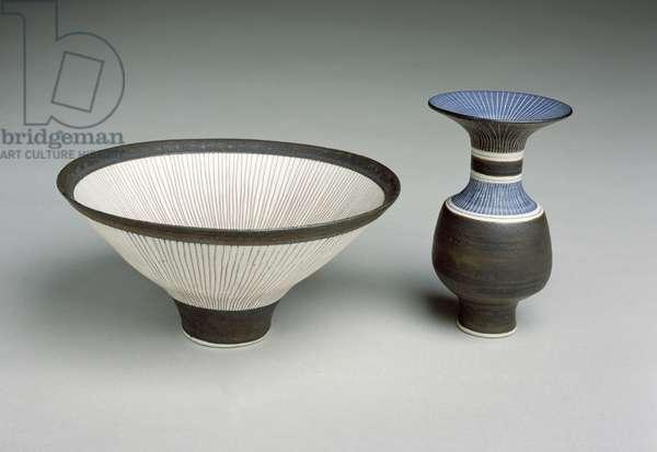 Bowl and Bottle, 1980-81 (porcelain)