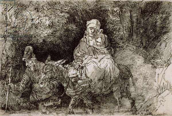 The Flight into Egypt: Crossing a Rill, 1654 (etching)