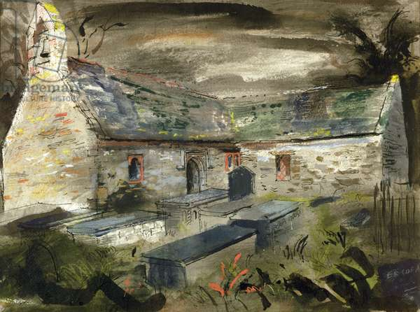 Llantrisant Church, Anglesey, c.1950-52 (ink, chalk & w/c heightened with bodycolour)