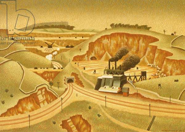 A Limestone Quarry, 1942 (tempera on gessoed canvas laid on board)