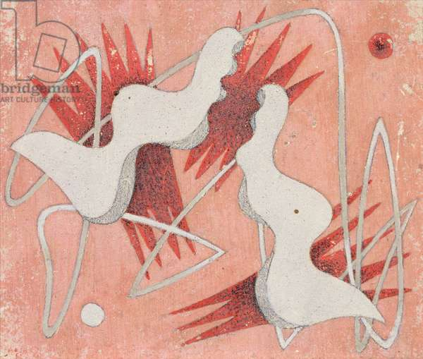Composition on a Pink Background, 1934 (tempera on gessoed panel)