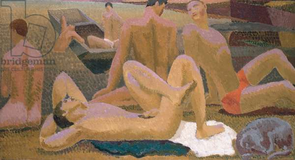Bathers by the Pond, c.1920-21 (oil on canvas)