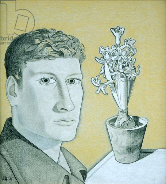 Self Portrait with Hyacinth Pot, 1947-48 (black, white & yellow crayon on paper)