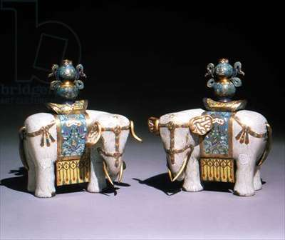 Pair of cloisonne enamel elephants, Chinese, Ch'ien Lung period, 1735-95