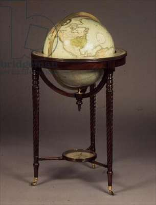 Regency terrestrial globe, by J. & W. Cary, copperplate engravings on papier-mache & plaster, 1816; mahogany frames, c.1800