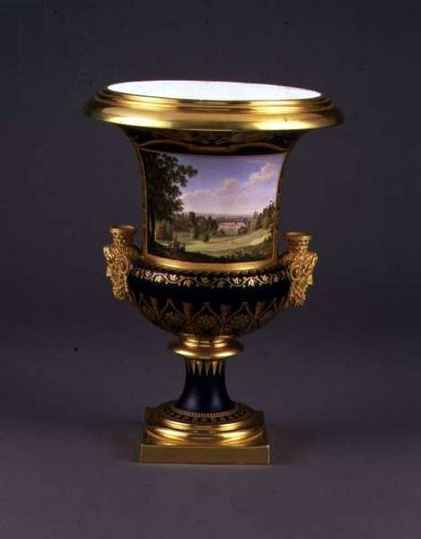 Sevres porcelain 'Vase de Medicis' decorated with a view of the Chateau of Saint-Leu, painted by Nicholas Antoine Lebel (1705-93) and Jean Charles Develly (1783-1849), 1814