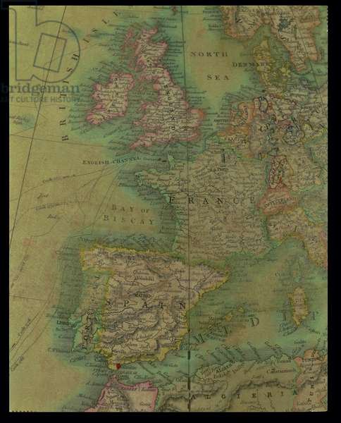 Europe: detail from a Terrestrial Colossus Globe, by Thomas Malby and Sons, c.1860