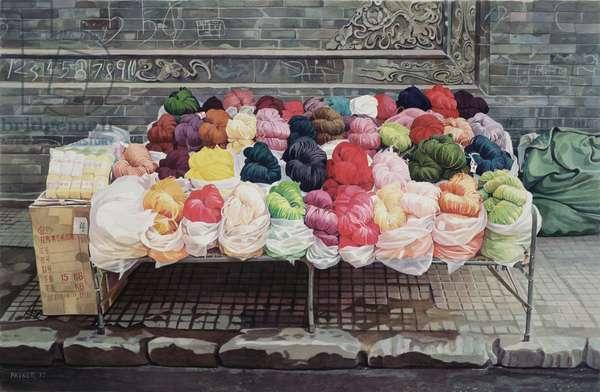 Bed of Wool Skeins, Xian, 1997 (w/c on paper)