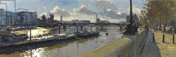 October Afternoon Battersea Bridge, 2011 (oil on canvas)