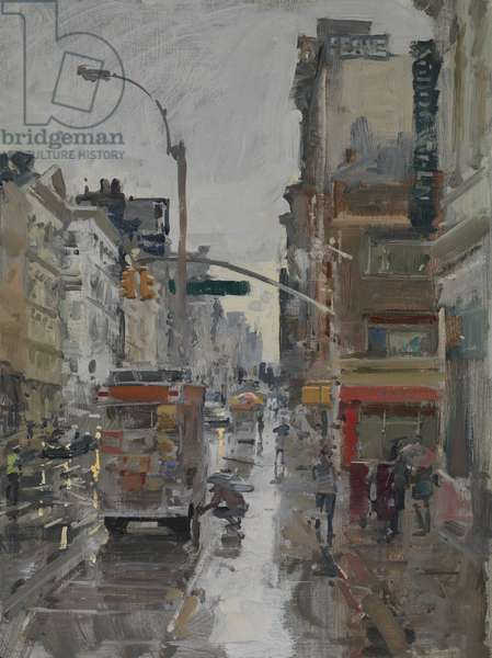 Morning Rain, Broadway and Canal Street, 2017 (oil on board)